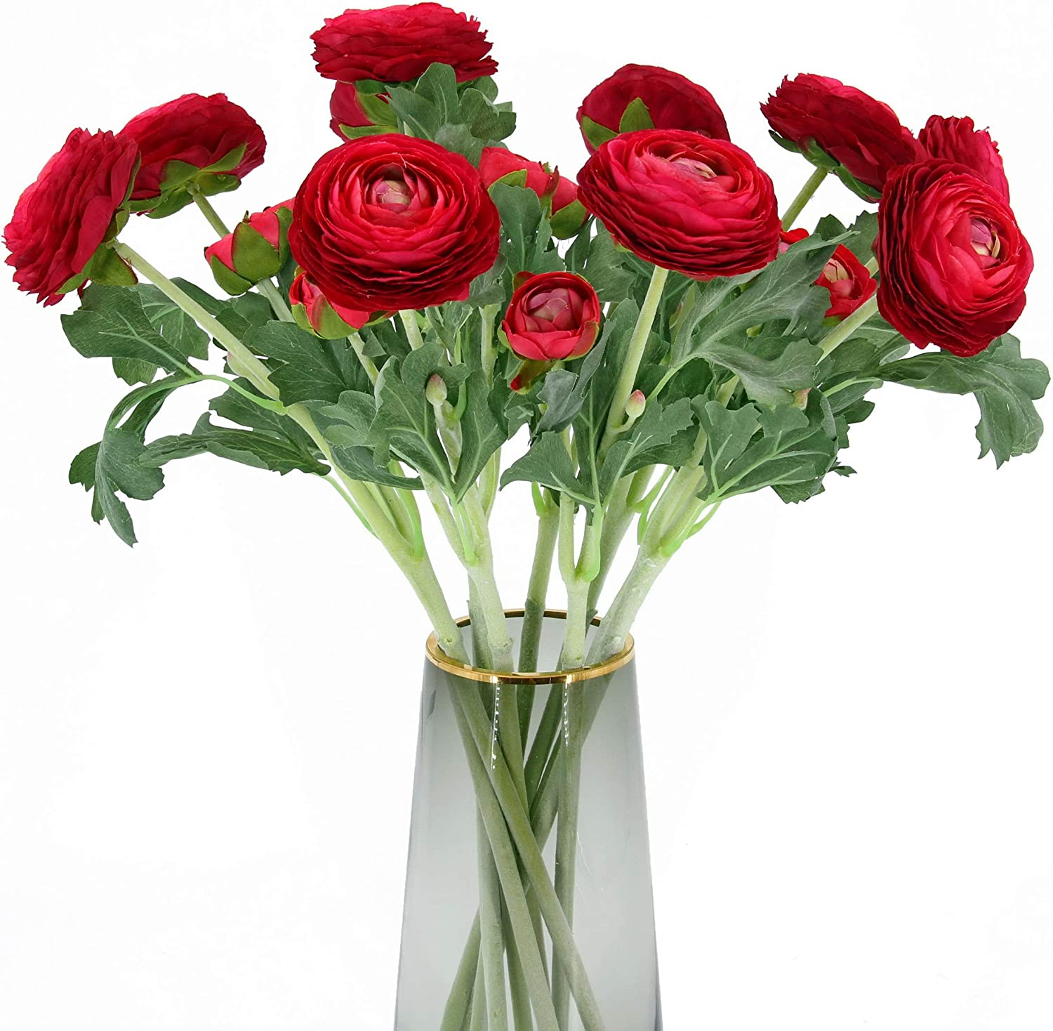 Artificial Ranunculus Flowers with Real Touch Stem, Silk Ranunculus Flowers(10 Pack) (Red)