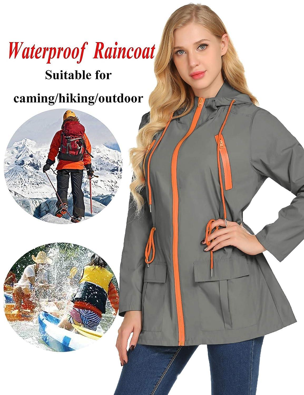 Lightweight Waterproof Hooded Raincoat Active Outdoor Rain Jacket Windbreaker LOMON Womens Hooded Jacket Plus Size