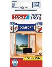 tesa Fliegengitter Comfort Klettband für Fenster, Schwarz, 1,3m:1,5m