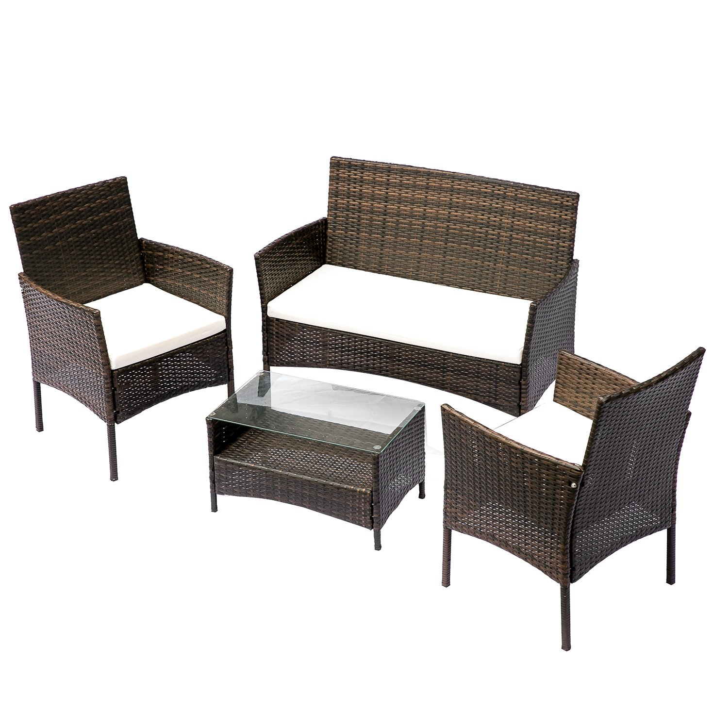 HANs Outdoor Rattan Furniture Sets 4PC Wicker Patio Furniture with Cushioned Seats by HANs (Image #1)