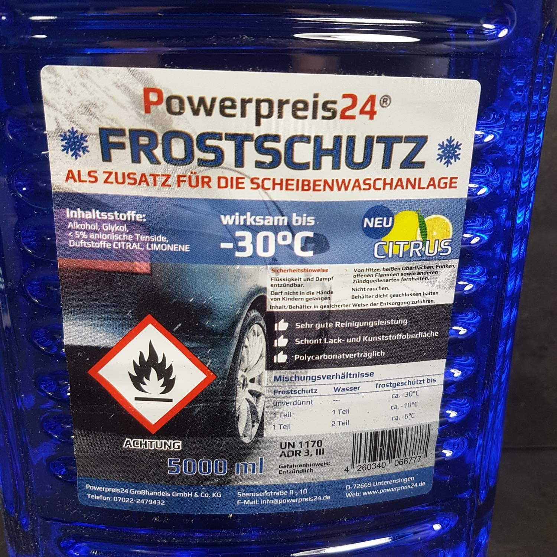 Powerpreis24 4x 5 Liter Scheibenfrostschutz Frostschutzmittel 20l 30 Grad Gebrauchsfertig Auto