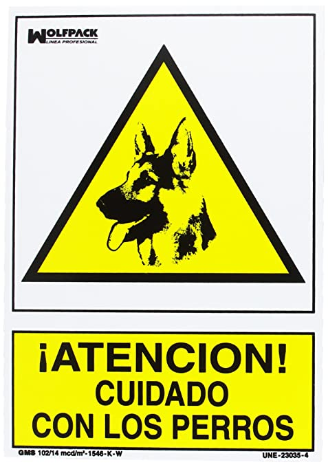 Wolfpack 15050922 Cartel Cuidado Con Los Perros 30x21 cm.