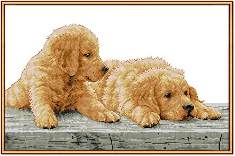 Embroidery Crafts Needlepoint Dog Brother Kits for Home Decorations Stamped Cross Stitch Kits with Pre-Printed Patterns Cross Stitch Kits Beginner Adult Cross Stitching Stamped Kits