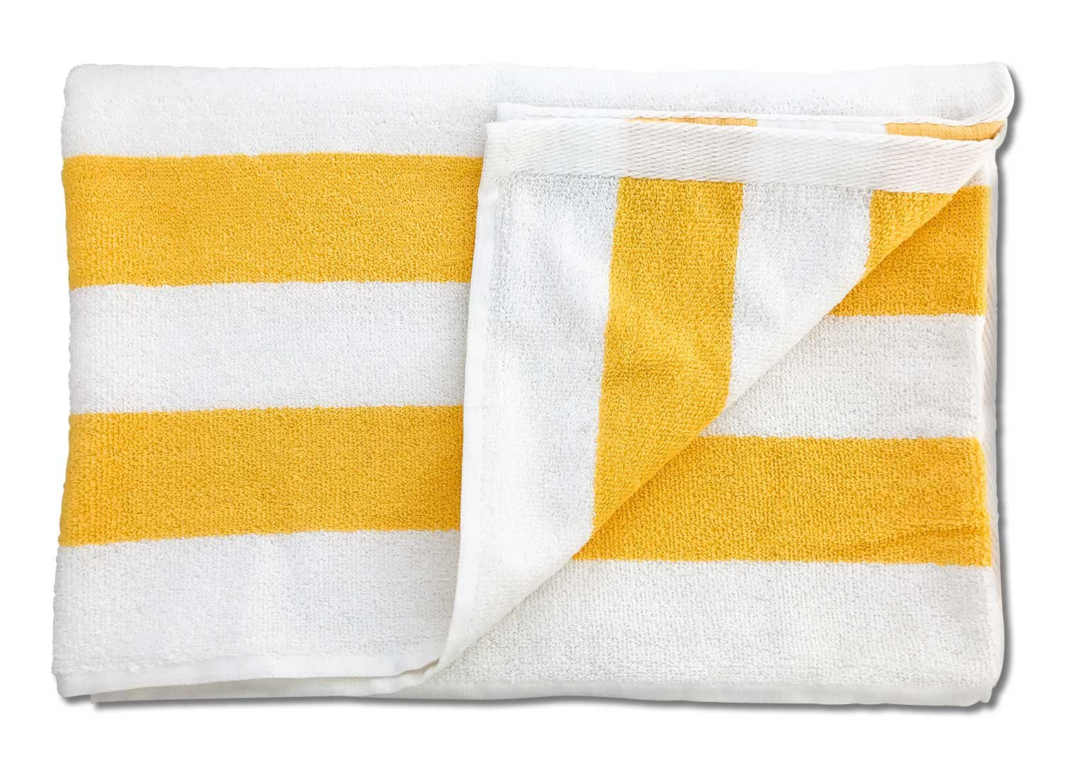 TowelRobes Cabana Striped Loop Terry Beach Towel Wholesale (10, Yellow)