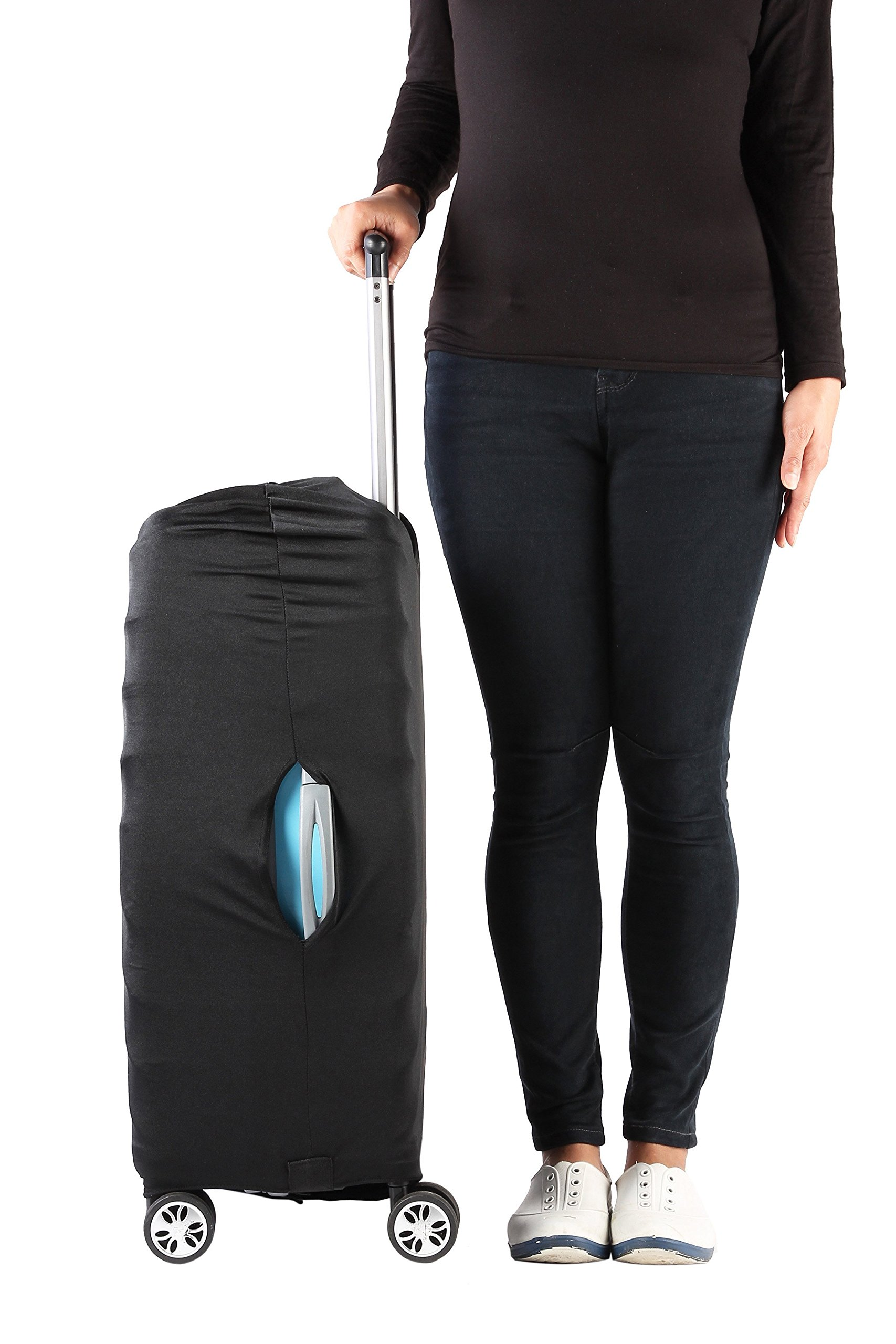 Travel Luggage Protective Cover - Stretchable Suitcase Protector Case, Black, 26 Inches by Juvale (Image #2)