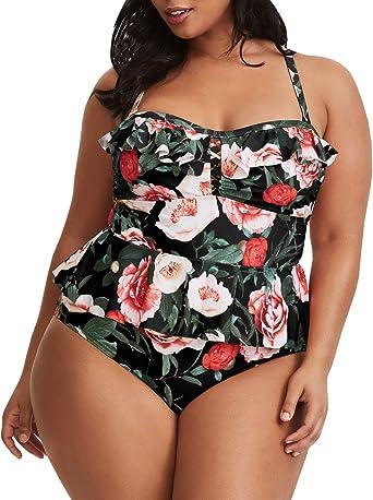 2019 Women Color Block Two Piece Plus Size Beach Wear Tankini Swimsuit Swimwear