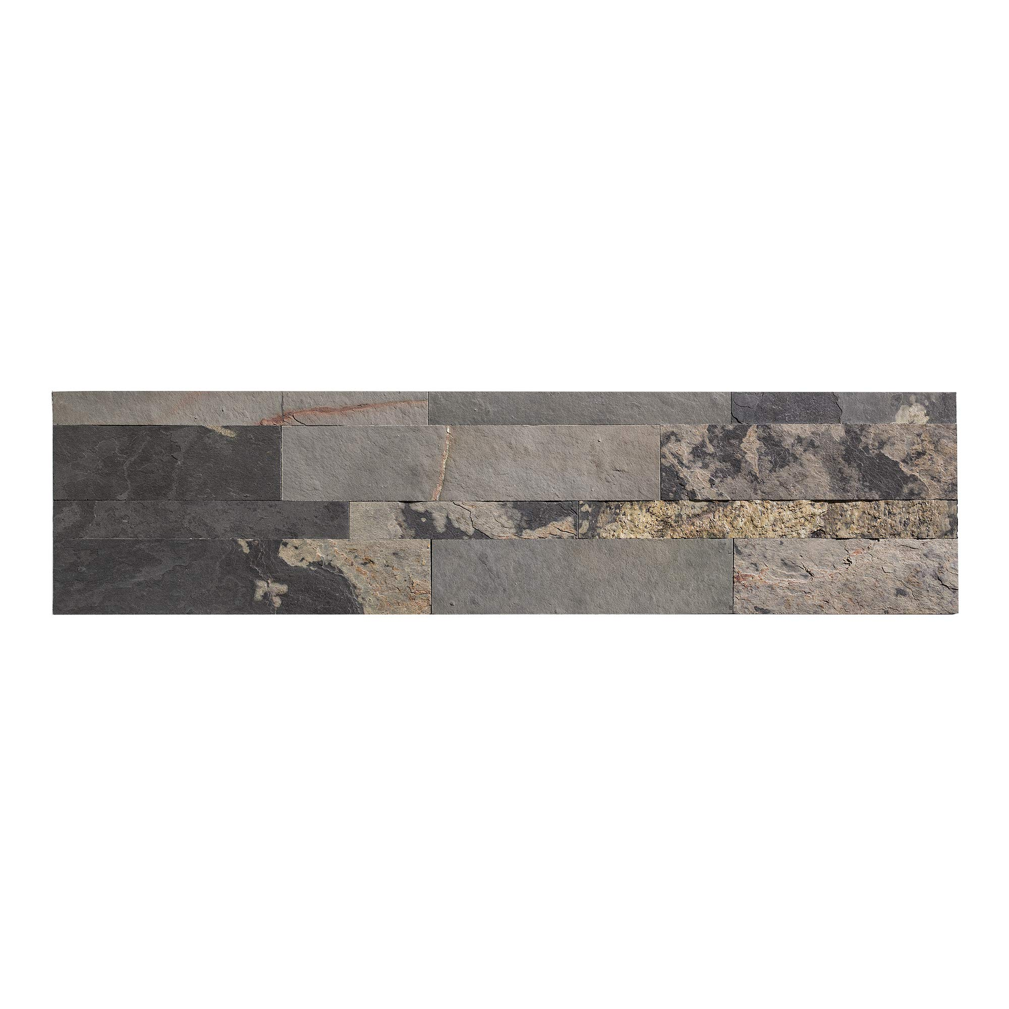 Aspect Peel and Stick Stone Overlay Kitchen Backsplash - Medley Slate (5.9'' x 23.6'' x 1/8'' Panel - Approx. 1 sq ft) - Easy DIY Tile Backsplash