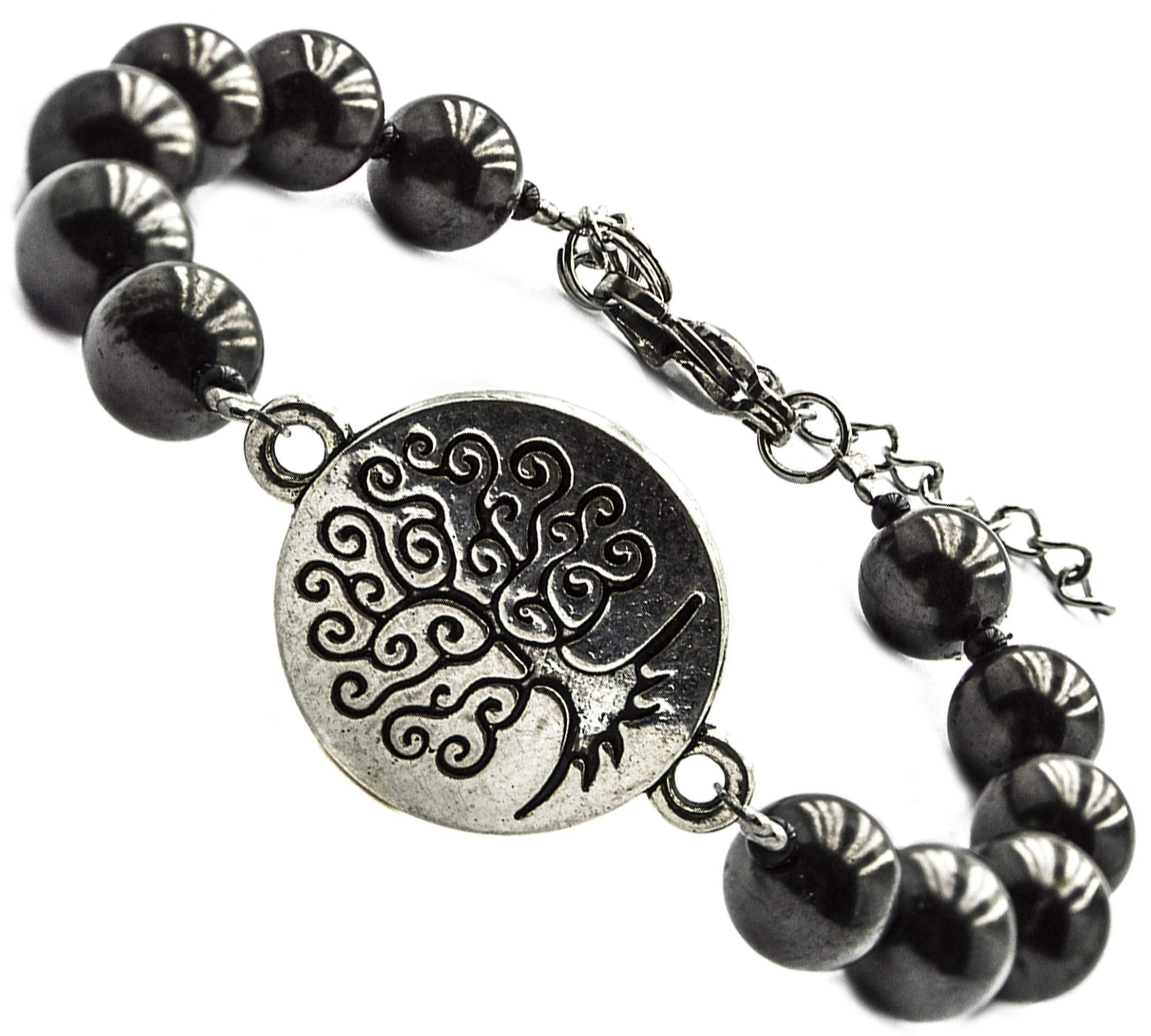 Bead Stretchy Bracelet TREE of LIFE Natural Black Shungite 8 mm