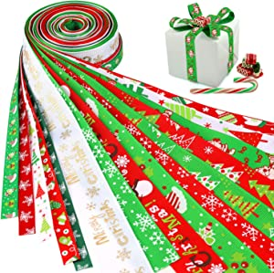 Konsait 16Pack Christmas Ribbons Trims Grosgrain Ribbons Decorative Ribbons Christmas Festive Themed Ribbons for DIY Craft, Xmas Decor Winter Holiday Festival Season Christmas Gift Wrapping