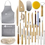 BlackyVox Pottery and Clay Sculpting Tools Double Sided Tool Set Sturdy Toolkit 28 Pcs for Polymer Clay Tools For…