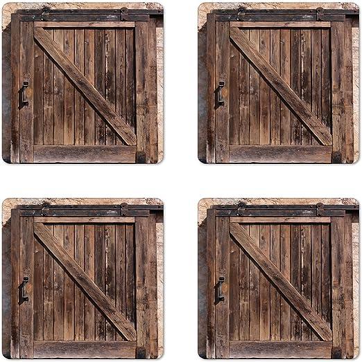 Juego de 4 posavasos rústicos, puerta corredera de madera ...
