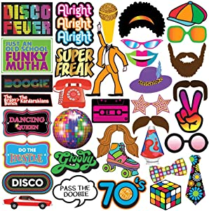 Disco Photo Prop Pack - 1970s Retro Party Decorations, Supplies and Gifts