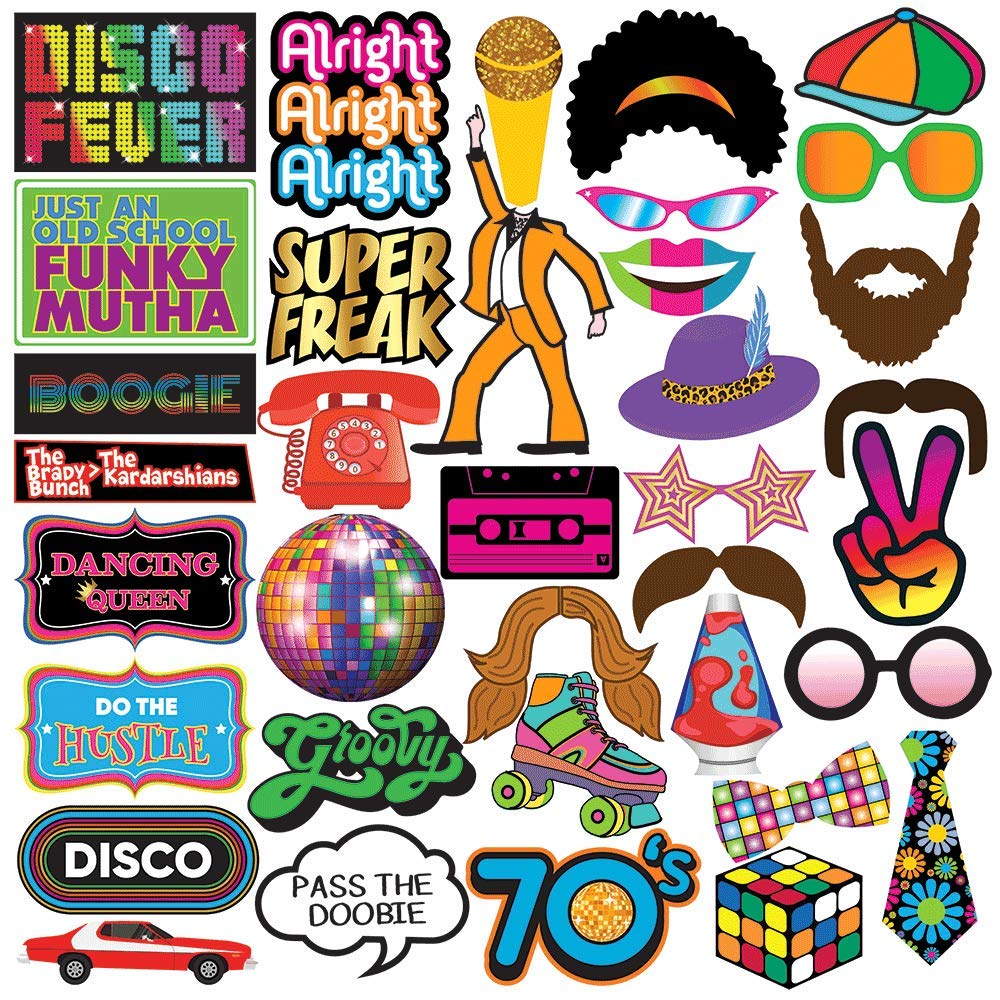 * Bestseller * 70's Party Photo Booth Props - 40 Pieces
