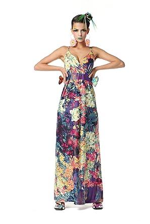 Polarfox Womens Floor Length Floral Print Dresses XL-Large Purple