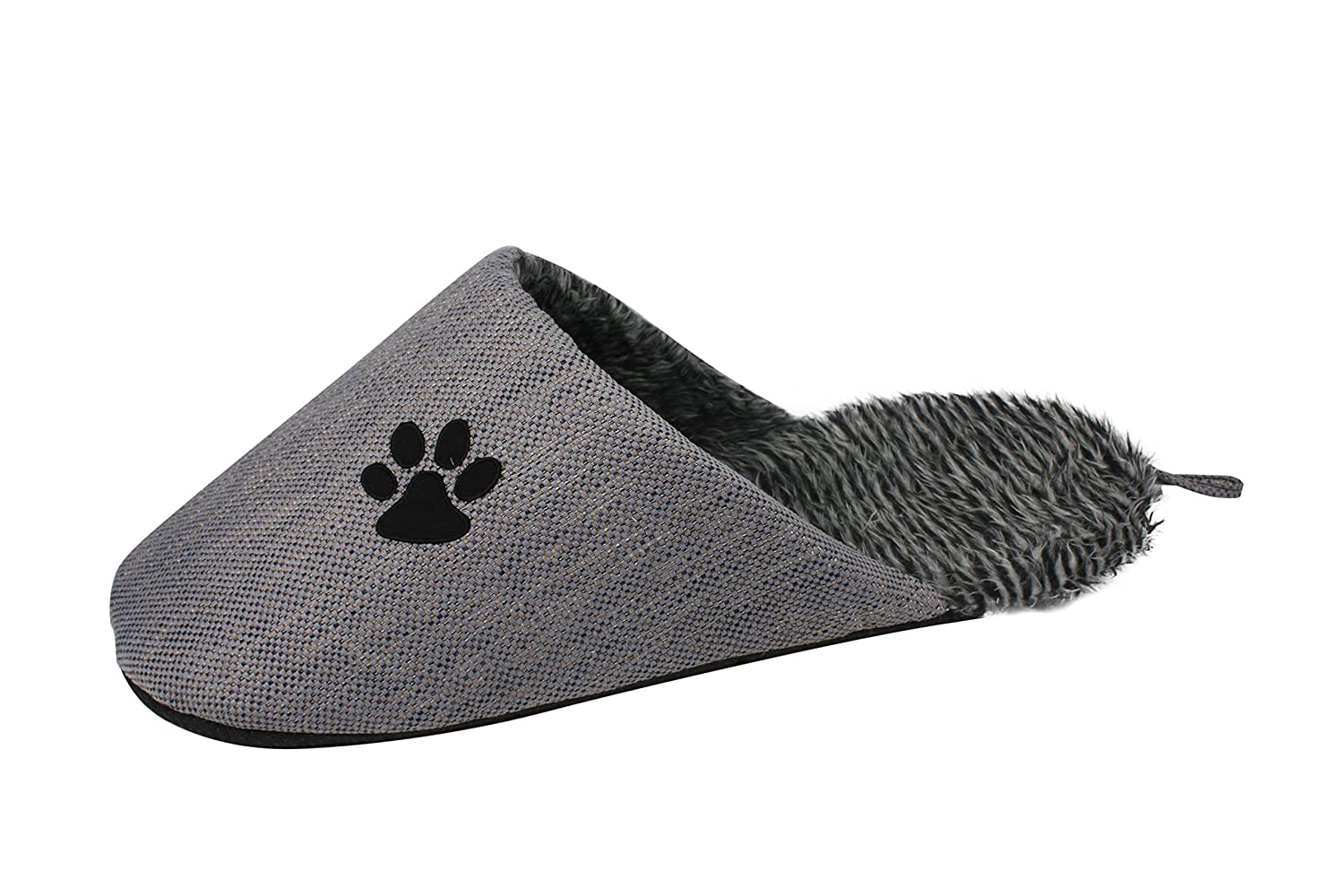 Grey One Size Grey One Size PET LIFE 'Slip-On' Fashion Designer Polar Fleece Animated Slipper Pet Dog Bed House shoes, One Size, Grey