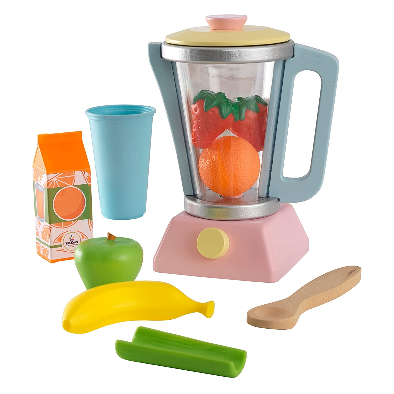 Kidkraft 63377 Pastel Smoothie Pretend Play Food Set Cooking Accessories For Kids Toy Kitchen