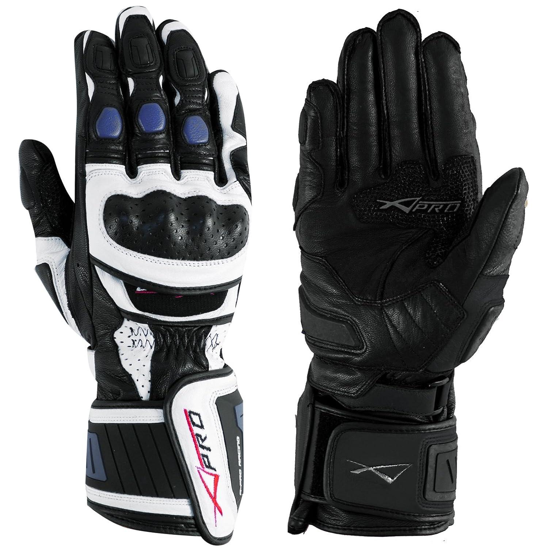 A-Pro Guanto Pista Racing Protezioni Tecnico Sport Pelle Moto Bianco//Argento XL