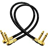 2 Units - Van Damme Pro Grade Classic XKE - 18 Inch (45 cm) – Premium, Ultra-Flexible Multi -Shielded Guitar Bass Effects Instrument, Patch Cable - with Premium Gold Plated, Low-Profile, Right Angled Pancake type TS (6.35mm) Connectors