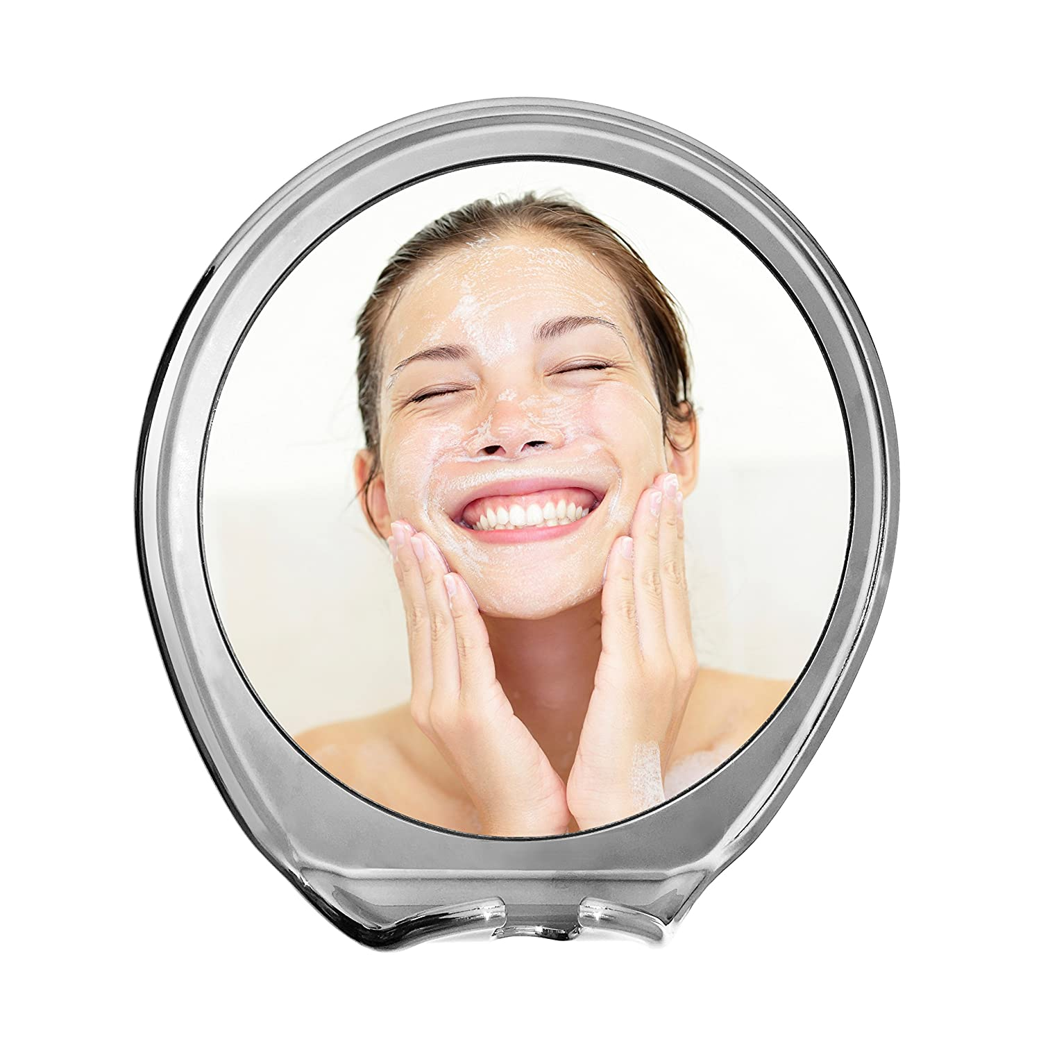 JiBen Fogless Shower Mirror With Power Locking Suction Cup, Built In Razor  Hook And