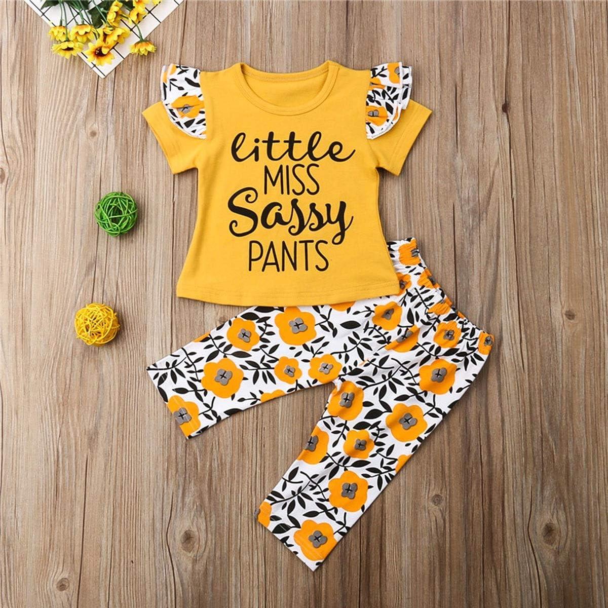 Haokaini Infant Toddler Lettre Manches Longues Chemise Fleur Pantalon Surv/êtement Shorts Ensemble pour b/éb/é filles