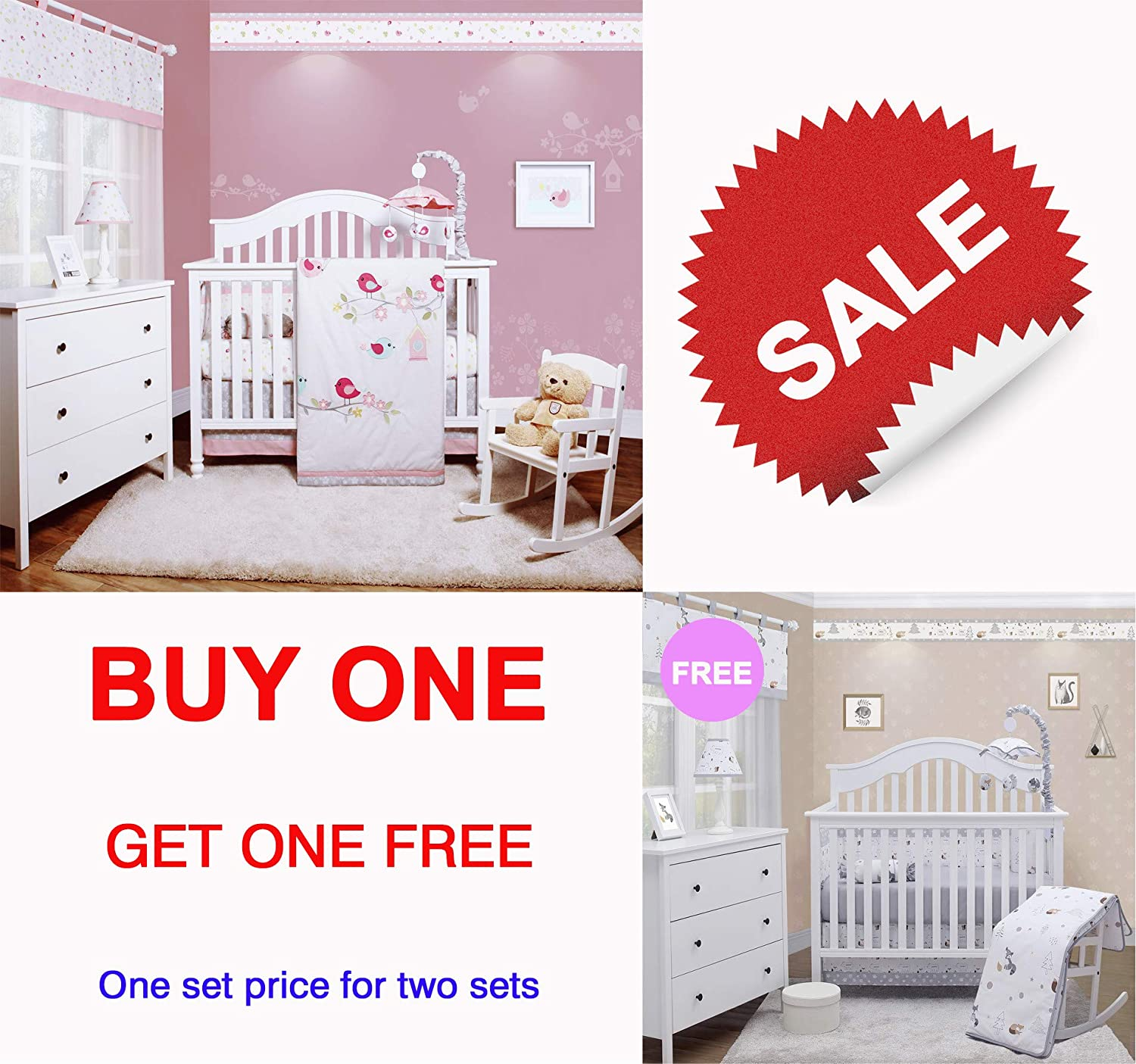 GEENNY OptimaBaby 6 Pieces Holiday Special Onsale One Set Price Getting Two Sets - Happy Enchanted Birds 6 Piece Baby Bedding Set and Woodland Forest Fox 6 Piece Nursery Bedding Set
