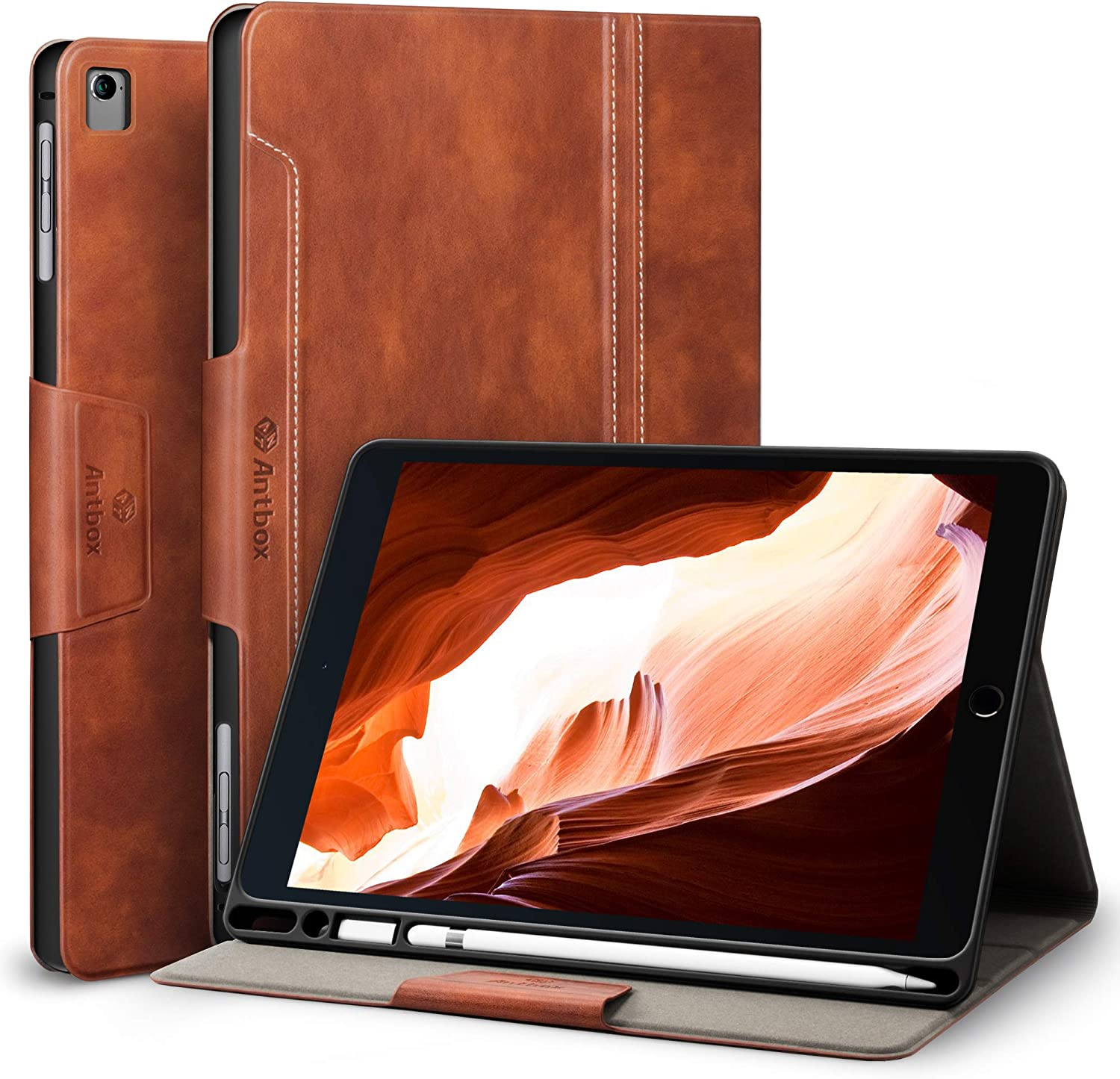 Antbox iPad Case for iPad Pro 9.7/ iPad Air/iPad Air 2 with Built-in Apple Pencil Holder Auto Sleep/Wake Function PU Leather Smart Cover (Brown)