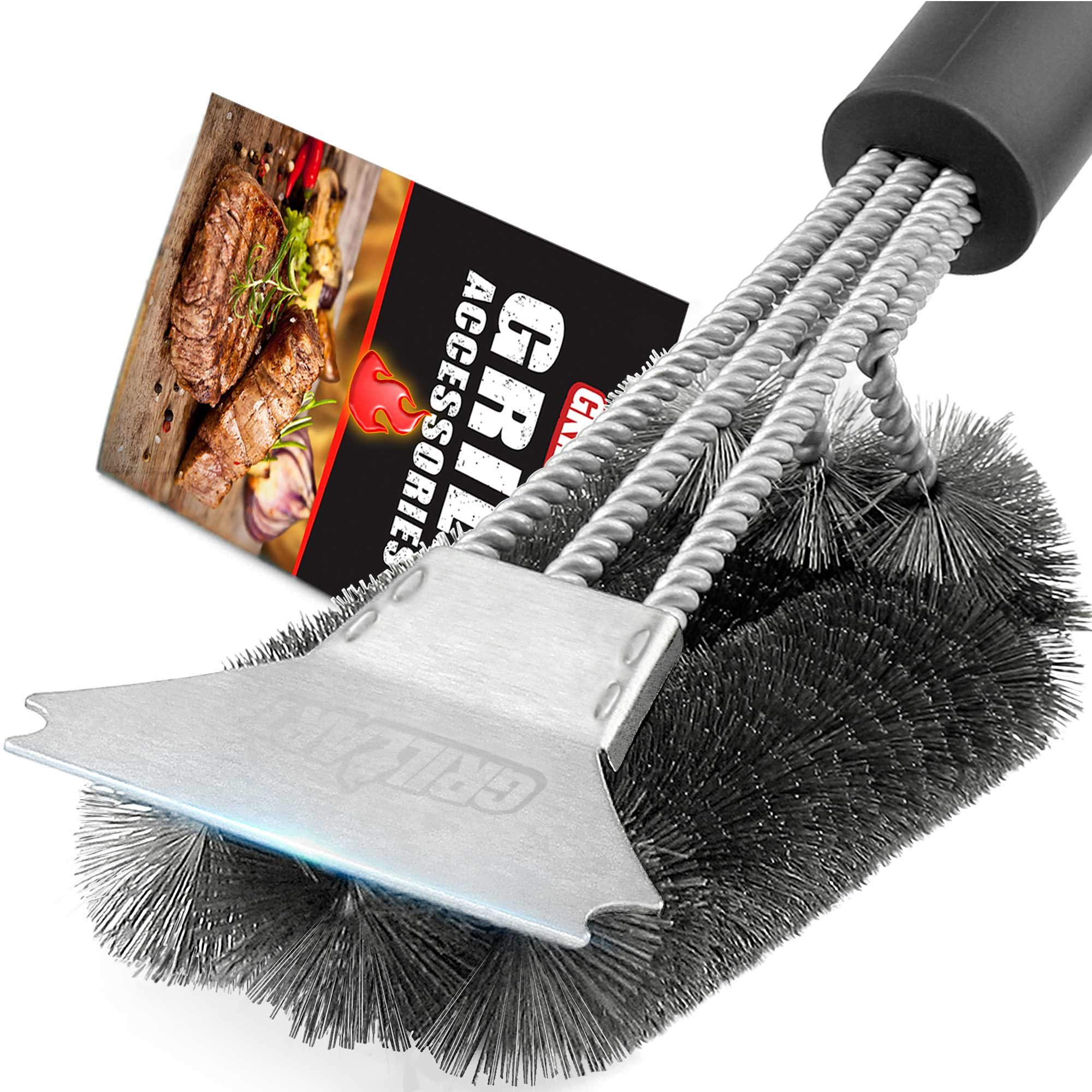 Grill Brush and Scraper - Extra Strong BBQ Cleaner Accessories - Safe Wire Bristles 18''Stainless Steel Barbecue Triple Scrubber Cleaning Brush for Weber Gas/Charcoal Grilling Grates, Best wizard tool