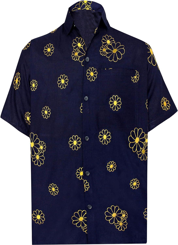 TALLA S - Pecho Contorno (in cms) : 96 - 101. LA LEELA Loro botón de los Hombres Bolsillo en la Manga Corta hacia Abajo la Camisa Hawaiana Negro