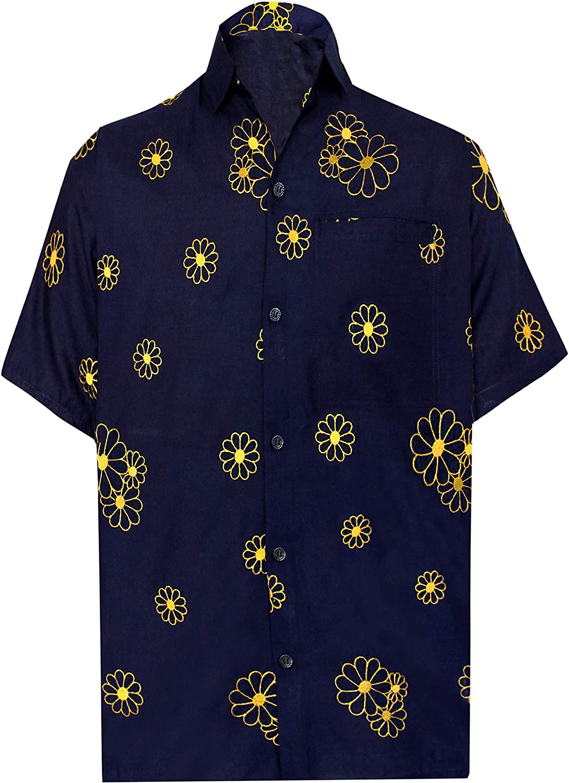 LA LEELA Casual Hawaiana Camisa para Hombre Señores Manga Corta Bolsillo Delantero Surf Palmeras Caballeros Playa Aloha S-(in cms):96-101 Azul Marino_W865