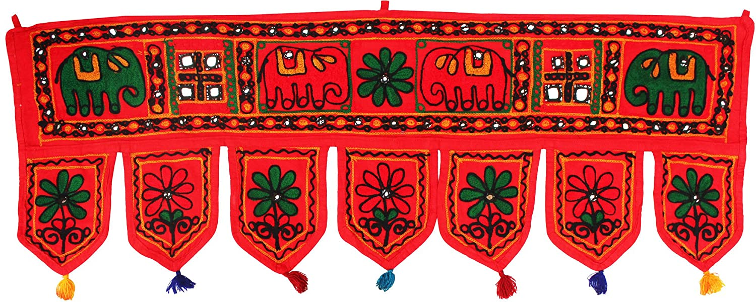 India Wall Door Hanging Toran Indian Tapestry Home Decor (Blue, 34 x 13 inches) Maple Clothing trn2511510a