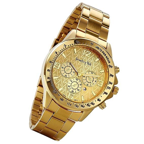 lancardo Reloj de pulsera para hombre con correa de acero inoxidable con 3 sub-quadranti Esfera Digital Business Casual, dorado: Amazon.es: Relojes