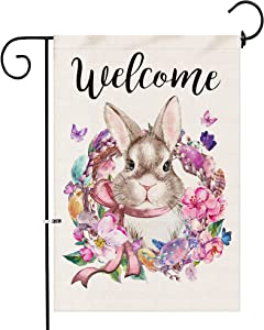 pinata Easter Garden Flags 12x18 Double Sided, Outdoor Decorative Easter Bunny Egg Yard Flags, Burlap Easter Banner Flag, Rabbit Porch Sign for Outside Decor, Small Seasonal Flags