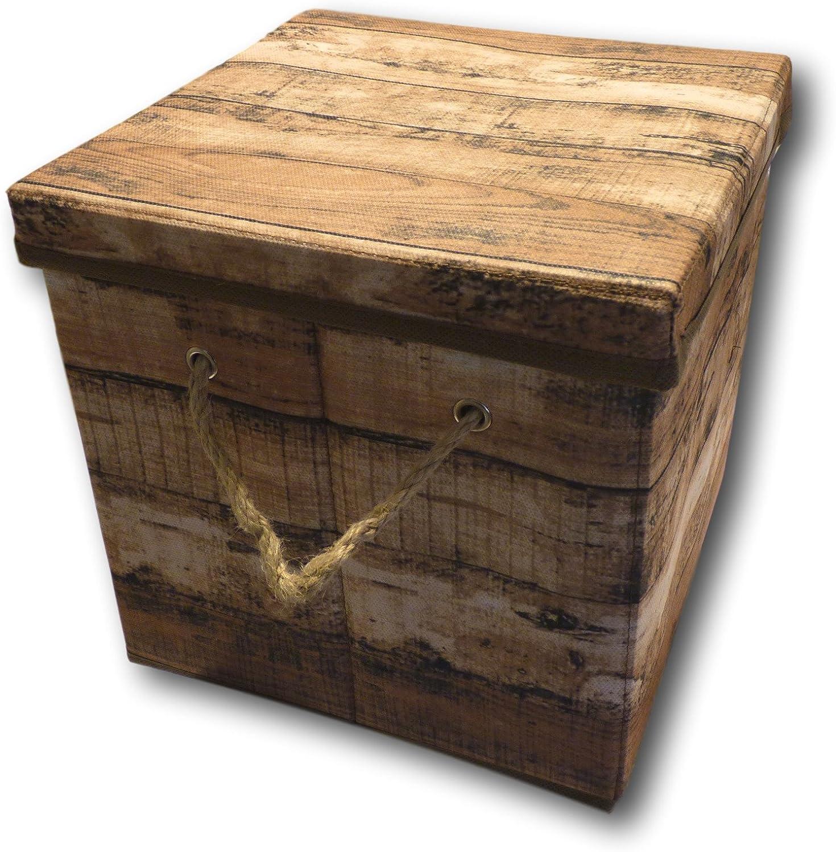 Manico in Corda Urban Design Scatola Box Pieghevole con Coperchio in Stoffa Stile Legno r/étro Piccola, Grigia