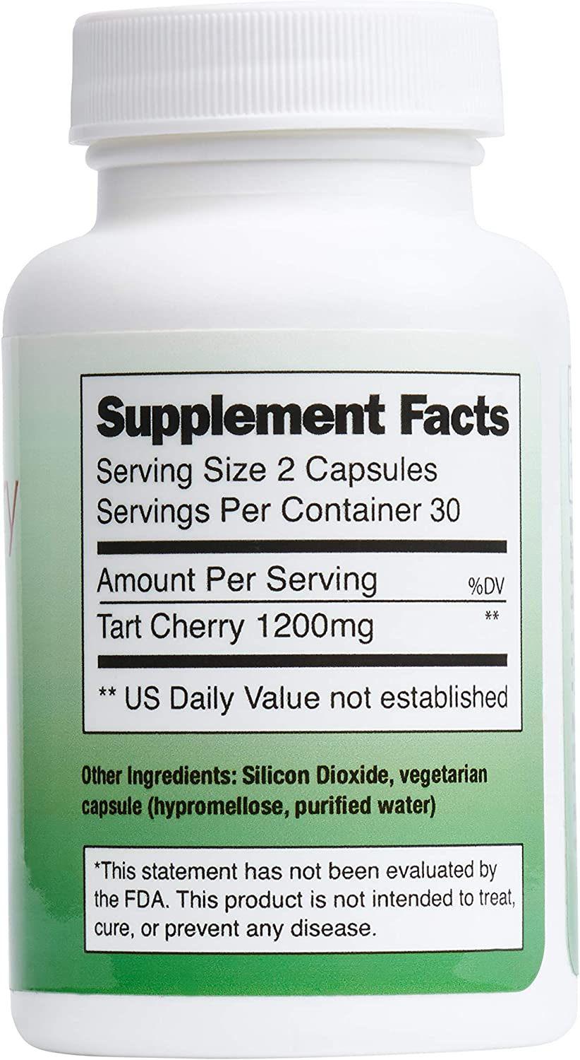 Tart Cherry (1200mg) – 60 Capsules – All Naturally Made in USA, high Concentrate and no additives – Supports uric Acid Cleanser, Joint Pain, and Healthy Sleep