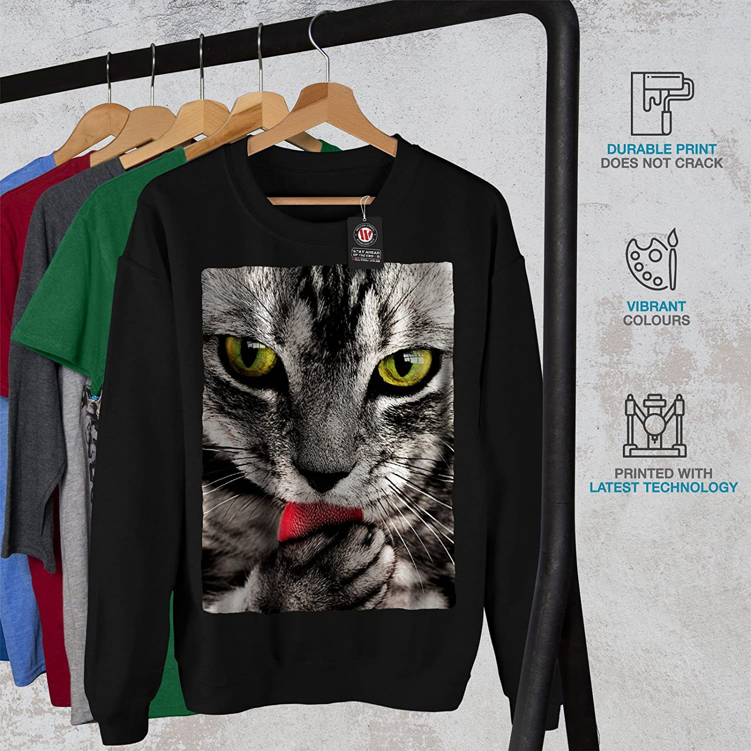 wellcoda Cat Lick Paw Cute Animal Mens Sweatshirt Cute Casual Jumper