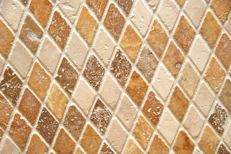 Mosaic Tile Tumbled Rhomboid Mixed Travertine 1 X 2 Diamond