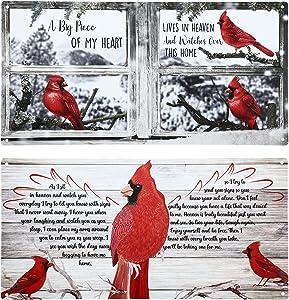 2 Pieces Cardinal Birds Vintage Tin Sign Retro Cardinal Birds Sign Cardinal Birds Wall Sign for House Decoration Home Wall Kitchen Bar Decoration 11.8 x 5.9 Inch