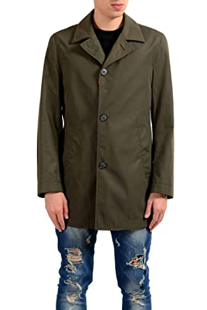 7e50677ae Amazon.com: Hugo Boss Midais Men's Olive Green Trench Coat US S IT ...