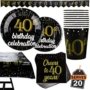 82 Piece 40th Birthday Party Supplies Set Including Plates, Cups, Napkins, Banner and Tablecloth, Serves 20