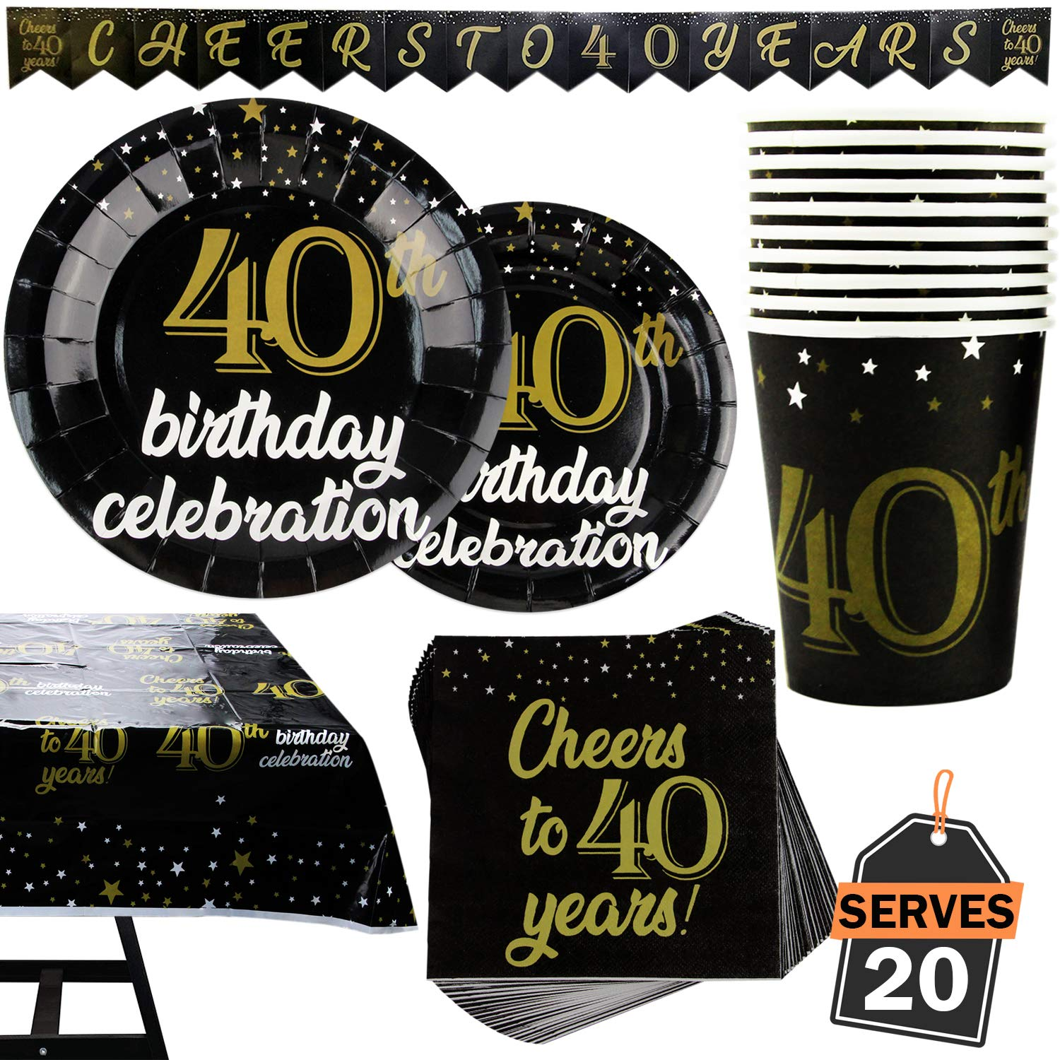 82 Piece 40th Birthday Party Supplies Set Including Plates, Cups, Napkins,Banner and Tablecloth, Serves 20 by Scale Rank