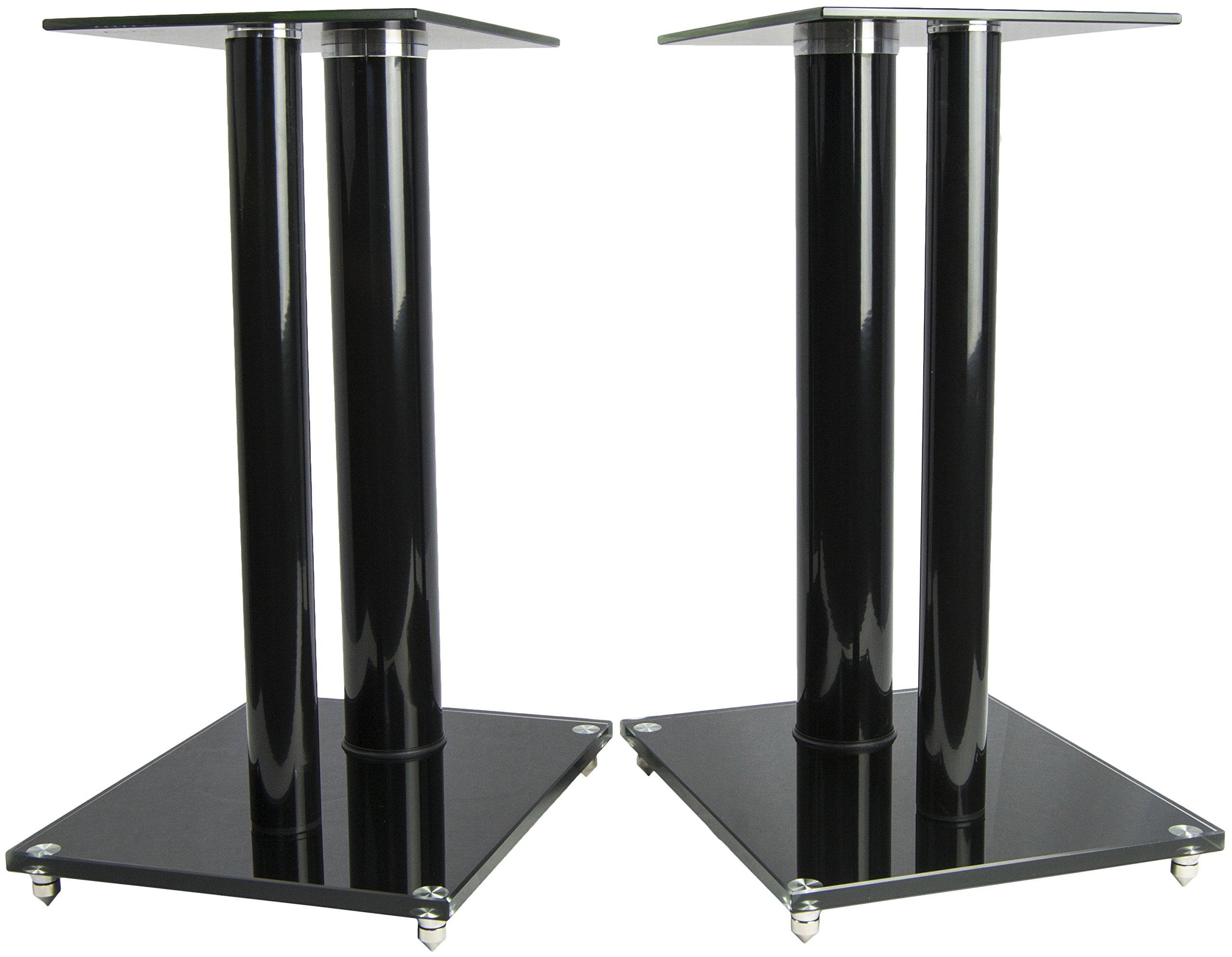 VIVO Premium Universal Floor Speaker Stands Dual Pillar for Surround Sound & Book Shelf Speakers (STAND-SP01B)