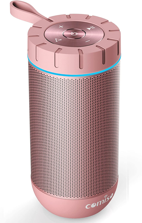 Altavoz Bluetooth Portatil Altavoz Bluetooth Impermeable con 36 Horas de Emision Continua COMISO Ture Wireless Estereo 12W Subwoofer Inalambrico Portatil con Radiador Pasivo Oro Rosa