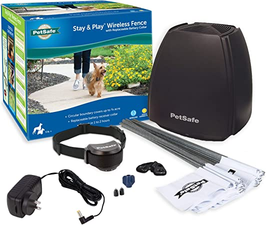 PetSafe Stay & Play Wireless Fence with Replaceable Battery Collar – Covers up to 3/4 Acre – For Dogs & Cats over 5 lb – Waterproof Collar, Tone & Static – From Parent Company of INVISIBLE FENCE Brand
