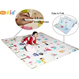 Vic Kid® Baby Play Mat/Crawling Mat/Foldable Extra Large Thick Foam/Double Sides Multi-Purpose Water Proof. Size: 6.45 X 5.8 Ft (± 1 Inch) / Color : SideA- Squirrel & Mouse + Side B-Ocean World