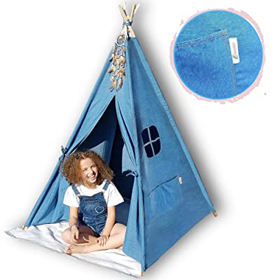 G-Eco Play Teepee Tent for Kids, Blue Denim, Children Toy Playhouse with Canvas Carry Bag, Gift for Girls and Boys Indoor and Outdoor, 4 Pole Foldable, Fun for Baby Toddler Kid Teens Room Decor: Toys & Games [5Bkhe0306038]