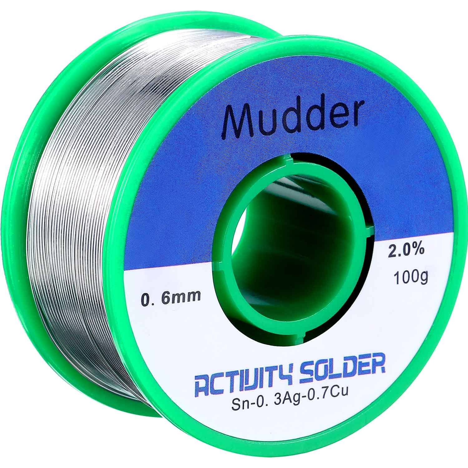 Mudder Lead Free Solder Wire Sn99 Ag0.3 Cu0.7 with Rosin Core for Electrical Soldering 0.22lbs (0.6 mm) by Mudder