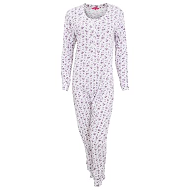 Womens Ladies Thermal Floral Pattern All in One Bodysuit (Medium (14 ... 8ae83ef11