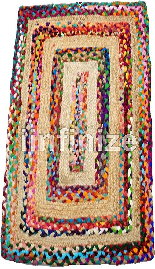 iinfinize - Alfombra de yute chindi trenzada a mano de 2 x 3 pies de algodón de yute chindi trenzada a mano alfombra de suelo chindi alfombra de cocina reversible: Amazon.es: Hogar
