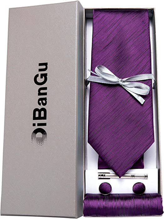 DiBanGu Set composto da cravatta e cravatta da taschino quadrato con confezione regalo