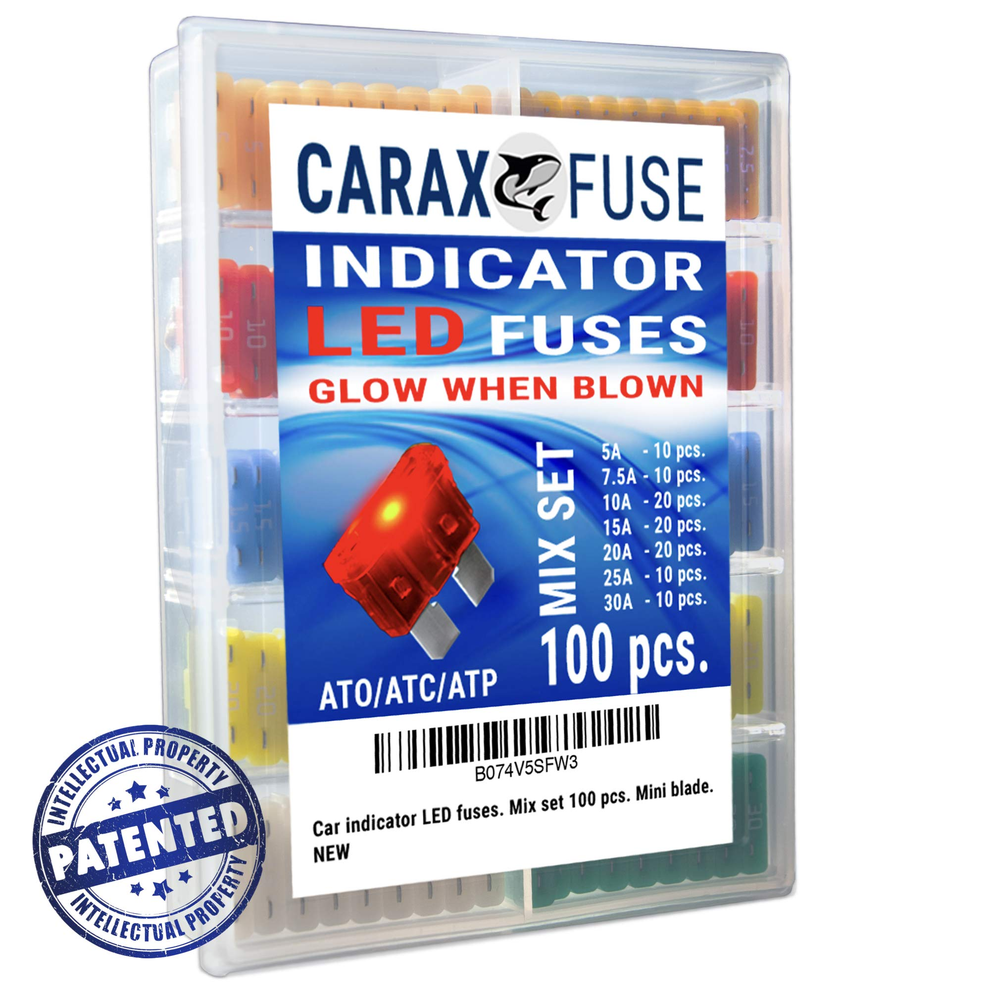 Fuse STANDARD Blade - Smart GLOW Fuse - Car Fuse Kit Automotive ATC/ATO - Fuses Assortment Replacement Kit - Easy Identification - Illuminating Indicator Fuse That Glow When Blown - Carax Fuse 100 pcs
